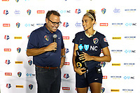 Cary, North Carolina  - Saturday August 05, 2017: Lynn Williams is interviewed by Dean Linke after a regular season National Women's Soccer League (NWSL) match between the North Carolina Courage and the Seattle Reign FC at Sahlen's Stadium at WakeMed Soccer Park. The Courage won the game 1-0.