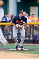 Danville Braves first baseman Griffin Benson (16) during a game against the Johnson City Cardinals on July 28, 2018 at TVA Credit Union Ballpark in Johnson City, Tennessee.  Danville defeated Johnson City 7-4.  (Mike Janes/Four Seam Images)