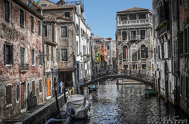One of the many canals of Castello in Venice, Italy