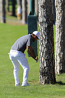 Alexander Levy (FRA) plays his 2nd shot from the trees on the 10th hole during Thursday's Round 1 of the 2018 Turkish Airlines Open hosted by Regnum Carya Golf &amp; Spa Resort, Antalya, Turkey. 1st November 2018.<br /> Picture: Eoin Clarke | Golffile<br /> <br /> <br /> All photos usage must carry mandatory copyright credit (&copy; Golffile | Eoin Clarke)