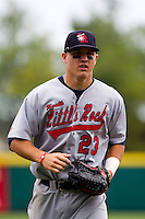 Mike Trout (23) of the Arkansas Travelers heads to the dugout during a game against the Springfield Cardinals on May 10, 2011 at Hammons Field in Springfield, Missouri.  Photo By David Welker/Four Seam Images.