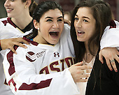 Kristyn Capizzano (BC - 7), Dana Trivigno (BC - 8) - The Boston College Eagles celebrate winning the 2014 Beanpot championship on Tuesday, February 11, 2014, at Kelley Rink in Conte Forum in Chestnut Hill, Massachusetts.