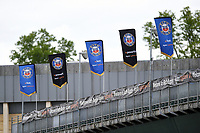 A general view of Bath Rugby flags on the Dyson stand. Gallagher Premiership match, between Bath Rugby and Wasps on May 5, 2019 at the Recreation Ground in Bath, England. Photo by: Patrick Khachfe / Onside Images