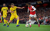 Reiss Nelson of Arsenal takes on Mergim Vojvoda of Standard Liege during the UEFA Europa League match between Arsenal and Standard Liege at the Emirates Stadium, London, England on 3 October 2019. Photo by Andrew Aleks.