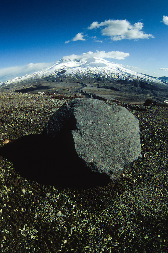 Volcanic Rock and Mt. St. Helens (Fisheye), Mt. St. Helens National Volcanic Monument, Washington, US