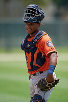 GCL Astros catcher Gerry Castillo (8) during a Gulf Coast League game against the GCL Marlins on August 8, 2019 at the Roger Dean Chevrolet Stadium Complex in Jupiter, Florida.  GCL Marlins defeated GCL Astros 5-4.  (Mike Janes/Four Seam Images)