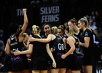 The Silver Ferns celebrate winning the Taini Jamieson Trophy Series netball match between the New Zealand Silver Ferns and England Roses at Claudelands Arena in Hamilton, New Zealand on Wednesday, 13 September 2017. Photo: Dave Lintott / lintottphoto.co.nz
