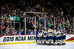 ST PAUL, MN - APRIL 7: The Notre Dame Fighting Irish prepare to take on the Minnesota-Duluth Bulldogs during the Division I Men's Ice Hockey Semifinals held at the Xcel Energy Center on April 7, 2018 in St Paul, Minnesota. (Photo by Tim Nwachukwu/NCAA Photos via Getty Images)