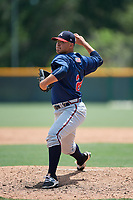 GCL Braves relief pitcher Gilbert Suarez (24) delivers a pitch during a game against the GCL Pirates on July 26, 2017 at Pirate City in Bradenton, Florida.  GCL Braves defeated the GCL Pirates 12-5.  (Mike Janes/Four Seam Images)