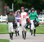 Jockeys head to the paddock for the 2010 Open House.