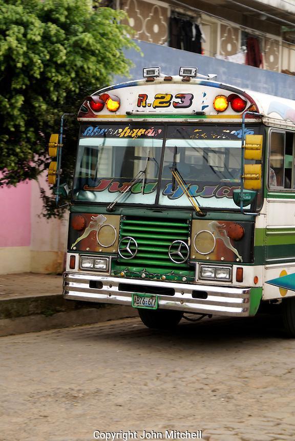 Colourful public bus in the village of Ataco in western El Salvador