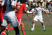 Omar Gonzalez of the LA Galaxy looks for an open man. The Chicago Fire beat the LA Galaxy 3-2 at Home Depot Center stadium in Carson, California on Sunday August 1, 2010.