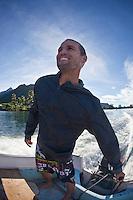 CJ HOBGOOD (USA) on the lagoon at Teahupoo, Tahiti, Thursday May 7 2009. Photo: joliphotos.com