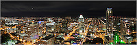 The Austin skyline panorama in this image was taken from the 360 Condos in downtown. From 45 stories above the city, Austin, Texas is vibrant and colorful.