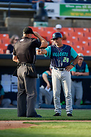 Lynchburg Hillcats manager Rouglas Odor (24) argues a call with home plate umpire Jason Johnson during the first game of a doubleheader against the Frederick Keys on June 12, 2018 at Nymeo Field at Harry Grove Stadium in Frederick, Maryland.  Frederick defeated Lynchburg 2-1.  (Mike Janes/Four Seam Images)