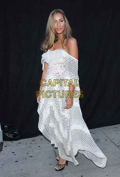 LEONA LEWIS .The 1 Year Anniversary of 3.1 Phillip Lim L.A. Store in West Hollywood, California, USA..July 15th, 2009.full length white black pattern polka dot off the shoulder floaty dress.CAP/DVS.©Debbie VanStory/Capital Pictures.
