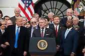 United States Senator Dan Sullivan, Republican of Alaska, speaks on the South Lawn of the White House surrounded by United States President Donald J. Trump, United States Vice President Mike Pence, and Republican members of Congress after the United States Congress passed the Republican sponsored tax reform bill, the 'Tax Cuts and Jobs Act' in Washington, D.C. on December 20th, 2017. Credit: Alex Edelman / CNP