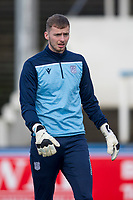 1st February 2020; Cappielow Park, Greenock, Inverclyde, Scotland; Scottish Championship Football, Greenock Morton versus Dundee Football Club; Conor Hazard of Dundee during the warm up before the match