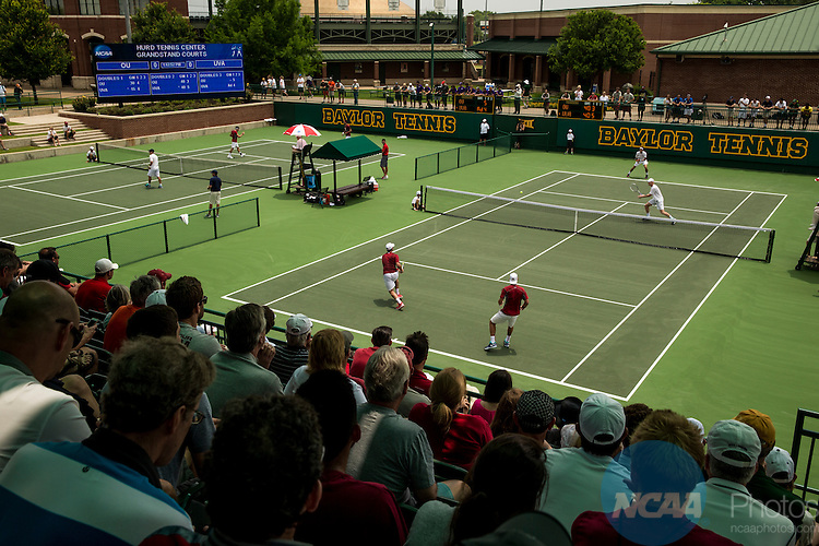 19 MAY 2015:  Men's Doubles final at the Division I Men's Tennis Championship, held at the Hurd Tennis Center on the Baylor University campus in Waco, TX.  Virginia defeated Oklahoma 4-1 to win the team national title.  Darren Carroll/NCAA Photos