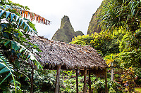 Iao Needle with thatched hut in foreground, Iao Valley State Park, Wailuku, Maui