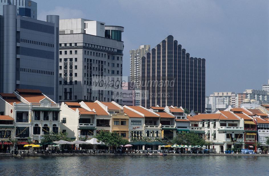 Asie/Singapour/Singapour: Boat Quay et la rivière de Singapour