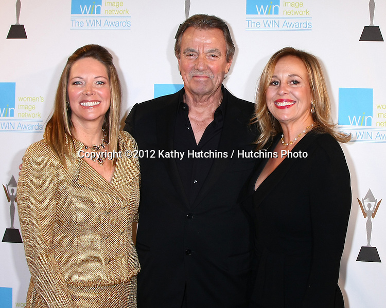 LOS ANGELES - DEC 12:  Maria Bell, Eric Braeden, Genie Francis arrives at the 14th Annual Women's Image Network Awards at Paramount Theater on December 12, 2012 in Los Angeles, CA