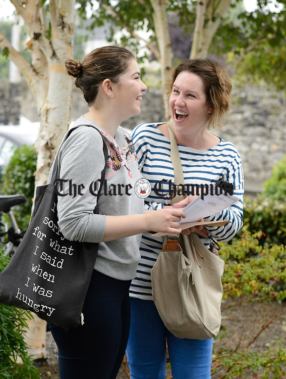 Molly Cantwell with her mother Joanne after collecting her Leaving Certificate results at Colaiste Muire in Ennis. Photograph by John Kelly.