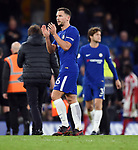 Danny Drinkwater of Chelsea thanks the fans at the end of the premier league match at Stamford Bridge Stadium, London. Picture date 30th December 2017. Picture credit should read: Robin Parker/Sportimage