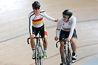 Corbin Strong (L) of Southland with Jackson Ogle of Waikato BOP after finishing first in the Junior U19 Men Omnium 3, Elimination Race,  at the Age Group Track National Championships, Avantidrome, Home of Cycling, Cambridge, New Zealand, Sunday, March 19, 2017. Mandatory Credit: © Dianne Manson/CyclingNZ  **NO ARCHIVING**