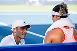 August 2, 2019: Kristie Ahn (USA) talks to her coach in a match where she was defeated by Donna Vekic (CRO) 7-5, 6-0 in the quarterfinals of the Mubadala Silicon Valley Classic at San Jose State in San Jose, California. ©Mal Taam/TennisClix/CSM