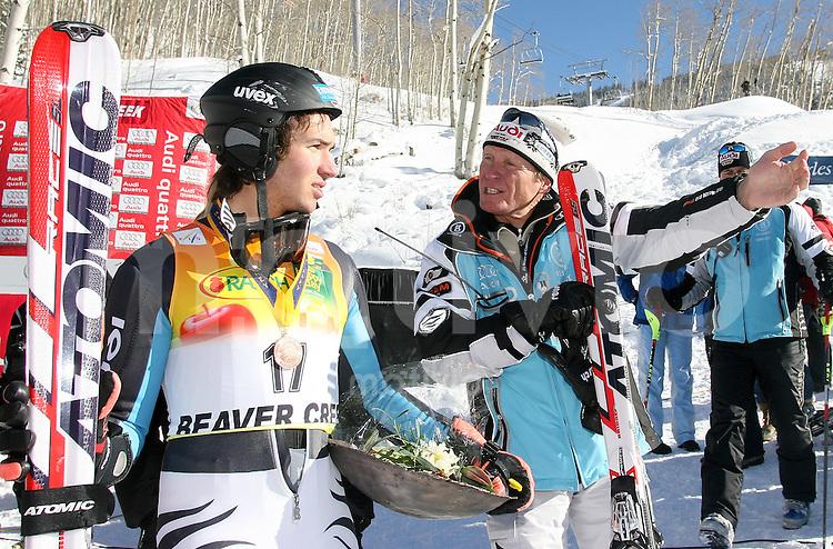 Ski Alpin; Saison 2006/2007  Slalom Herren Felix Neureuther (GER,li) belegt Platz 3. und DSV Cheftrainer Trainer Werner Margreiter zeigt wo es zur Pressekonferenz geht.