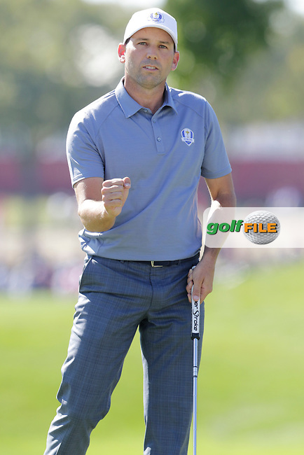 Sergio Garcia (ESP) Team Europe sinks his putt on the 2nd green during Sunday Singles Matches of the 41st Ryder Cup, held at Hazeltine National Golf Club, Chaska, Minnesota, USA. 2nd October 2016.<br /> Picture: Eoin Clarke | Golffile<br /> <br /> <br /> All photos usage must carry mandatory copyright credit (&copy; Golffile | Eoin Clarke)