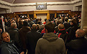 Dunfermline fans who couldn't get into the main auditorium at Carnegie Hall, Dunfermline, watch and listen to Jim Leishman on a broadcast beamed out to a TV in the foyer.