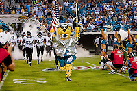August 19, 2011:  Jacksonville Jaguars mascot Jaxson De Ville leads the team onto the field prior to the start of pre season action between the Jacksonville Jaguars and the Atlanta Falcons at EverBank Field in Jacksonville, Florida.   Jacksonville defeated the Falcons 15-13.........
