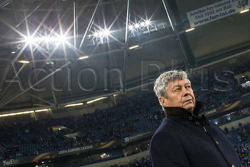 25.02.2016. Gelsenkirchen, Germany.  Donetsk's coach Mircea Lucescu before the Europa League Round of 32 Second Leg soccer match between Schalke 04 and FC Shakhtar Donetsk in the Veltins Arena in Gelsenkirchen, Germany, 25 February 2016.