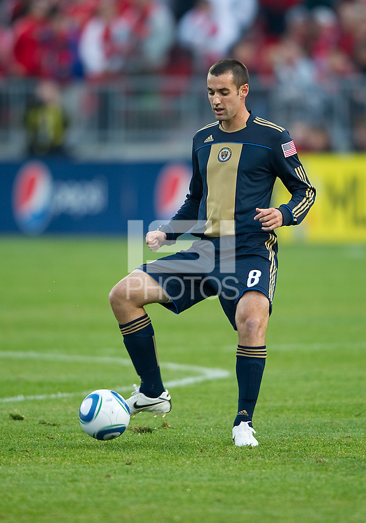 15 April 2010: Philadelphia Union midfielder Andrew Jacobson #8 in action during a game between the Philadelphia Union and Toronto FC at BMO Field in Toronto..Toronto FC won 2-1..Photo by Nick Turchiaro/isiphotos.com........12 September 2009:Toronto FC forward Chad Barrett # 19 takes the ball up field during MLS action at BMO Field Toronto in a game between Colorado Rapids and Toronto FC. .Photo by Nick Turchiaro/isiphotos.comApril 12 2010: Chicago White Sox second baseman Gordon Beckham #15 and Chicago White Sox shortstop Omar Vizquel #11celebrate the win during the Toronto Blue Jays home opener between the Chicago White Sox and the Toronto Blue Jays at Rogers Centre in Toronto, Ontario..The White Sox won 8-7 in 11 innings.........11 April 2009:Toronto FC forward Chad Barrett # 19 takes the ball up field during MLS action at BMO Field Toronto, in a game between FC Dallas and Toronto FC. .Toronto FC won 2-1.