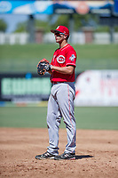 Cincinnati Reds first baseman Leonardo Seminati (61) on defense during an Instructional League game against the Kansas City Royals on October 2, 2017 at Surprise Stadium in Surprise, Arizona. (Zachary Lucy/Four Seam Images)