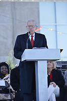 Photo &copy;Suzi Altman 12/9/17 Jackson,MS President Trump made private remarks during the grand opening of the Civil Rights and History Museums in Jackson Mississippi. Trump spoke to a small private group of civil rights icons, museums directors, and other elected officials including MS. Governor Bryant in the auditorium after his brief tour of the museum. Trump said &quot;the Civil Rights Museum is a tribute to our nation and to the State of Mississippi &quot; and he paid tribute to other leaders of the civil rights movement including James Meredith and Medgar Evers . Trumps appearance was controversial to many residents of the state of Mississippi and protests were scattered around the museums exterior.   Myrlie Evers- William widow of slain civil rights icon Medgar Evers attended the opening of the Mississippi Civiil Rights and History Museums. Evers spoke to the crowd outside after President Trump made private remarks inside to a closed audience of invited guests and press only. <br />  Right before the ribbon cutting ceremony outside on the podium Mrs Evers said &quot; These museums are priceless, going through the museum of my history I felt the bullets and the fears, but I also felt the hope.&quot; President Trump had a very short private tour of the Civil Rights Museum and did not mingle outside or stop to talk with any visitors to the new Civil Rights  museum. Photo&copy;SuziAltman