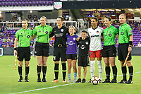 Orlando, FL - Saturday July 07, 2018: Referee, Ashlyn Harris, Estelle Johnson during the second half of a regular season National Women's Soccer League (NWSL) match between the Orlando Pride and the Washington Spirit at Orlando City Stadium. Orlando defeated Washington 2-1.