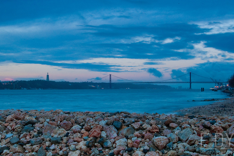 A view on the 25th of April Bridge over the Tage river in Lisbon