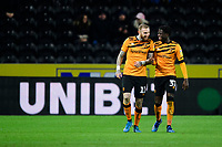Hull City's Marcus Maddison, left, celebrates scoring his side's second goal with team-mate Leo Da Silva Lopes<br /> <br /> Photographer Chris Vaughan/CameraSport<br /> <br /> The EFL Sky Bet Championship - Hull City v Swansea City -  Friday 14th February 2020 - KCOM Stadium - Hull<br /> <br /> World Copyright © 2020 CameraSport. All rights reserved. 43 Linden Ave. Countesthorpe. Leicester. England. LE8 5PG - Tel: +44 (0) 116 277 4147 - admin@camerasport.com - www.camerasport.com