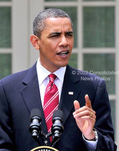 United States President Barack Obama holds a joint press conference with President Felipe Calderón of Mexico (not pictured) in the Rose Garden of the White House in Washington, D.C. during a State Visit on Wednesday, May 19, 2010..Credit: Ron Sachs / CNP