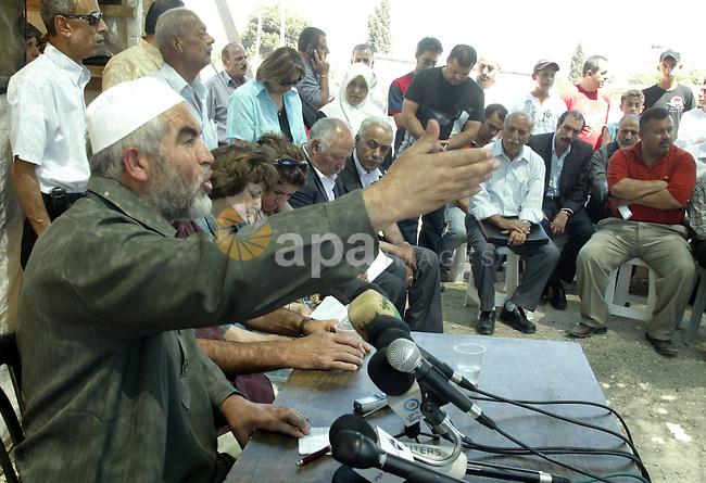 Sheikh Raed Salah the head of the Islamic movement and Rafiq El-husseny hold a press conference in Sheikh Jarah solidarity tent  in jerusalem City calling for stop the demolishing of the Palestinian houses in Jerusalem on June 29, 2009. photo by Mahfuz Abu Turk