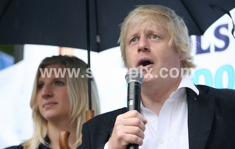 **ALL ROUND PICTURES FROM SOLARPIX.COM**.**WORLDWIDE SYNDICATION RIGHTS**.Rebecca Adlington, Olympic gold medal-winning swimmer is joined by Mayor of London, Boris Johnson to launch a four-week mobile swimming pool on the South Bank of the River Thames in London, which is free to use by members of the public. London, UK. 4 August 2009..This pic: Rebecca Adlington and Boris Johnson..JOB REF: 9680 LNJ     DATE: 04_08_2009.**MUST CREDIT SOLARPIX.COM OR DOUBLE FEE WILL BE CHARGED**.**MUST NOTIFY SOLARPIX OF ONLINE USAGE**.**CALL US ON: +34 952 811 768 or LOW RATE FROM UK 0844 617 7637**