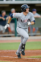 Ike Davis #18 of Team USA hustles down the first base line versus Team Canada at the USA Baseball National Training Center, September 4, 2009 in Cary, North Carolina.  (Photo by Brian Westerholt / Four Seam Images)