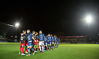 Players shake hands pre match during the The Checkatrade Trophy Southern Group D match between Wycombe Wanderers and Coventry City at Adams Park, High Wycombe, England on 9 November 2016. Photo by Andy Rowland.
