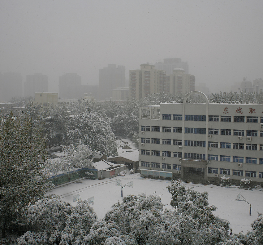 Artificailly provoked snow on Beijing, November 1 2009.