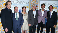 LOS ANGELES, CA, USA - NOVEMBER 04: Jeff Daniels, Alan Poul, Olivia Munn, Sam Waterston, Dev Patel, Aaron Sorkin arrive at the Los Angeles Season 3 Premiere Of HBO's Series 'The Newsroom' held at the DGA Theatre on November 4, 2014 in Los Angeles, California, United States. (Photo by Xavier Collin/Celebrity Monitor)