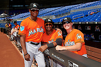 Miami Marlins Cesar Diaz (21), Isael Soto (15) and Ryan Lillie (7) pose for a photo before a Florida Instructional League game against the Washington Nationals on September 26, 2018 at the Marlins Park in Miami, Florida.  (Mike Janes/Four Seam Images)