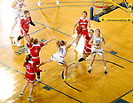 BROOKINGS, SD - FEBRUARY 22: Sydney Stapleton #35 of the South Dakota State Jackrabbits lays the ball up for two points at the end of the quarter against the South Dakota Coyotes Saturday at Frost Arena in Brookings, SD. (Photo by Dave Eggen/Inertia)